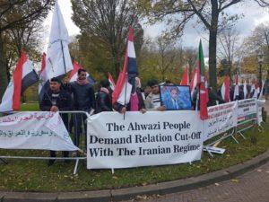 Demonstranten bij Iraanse ambassade na moord Mola.