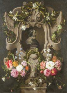 Daniel Seghers en Jan Cossiers: 'Bloemencartouche rond een buste van Constantijn Huygens' (1644). | Foto Mauritshuis